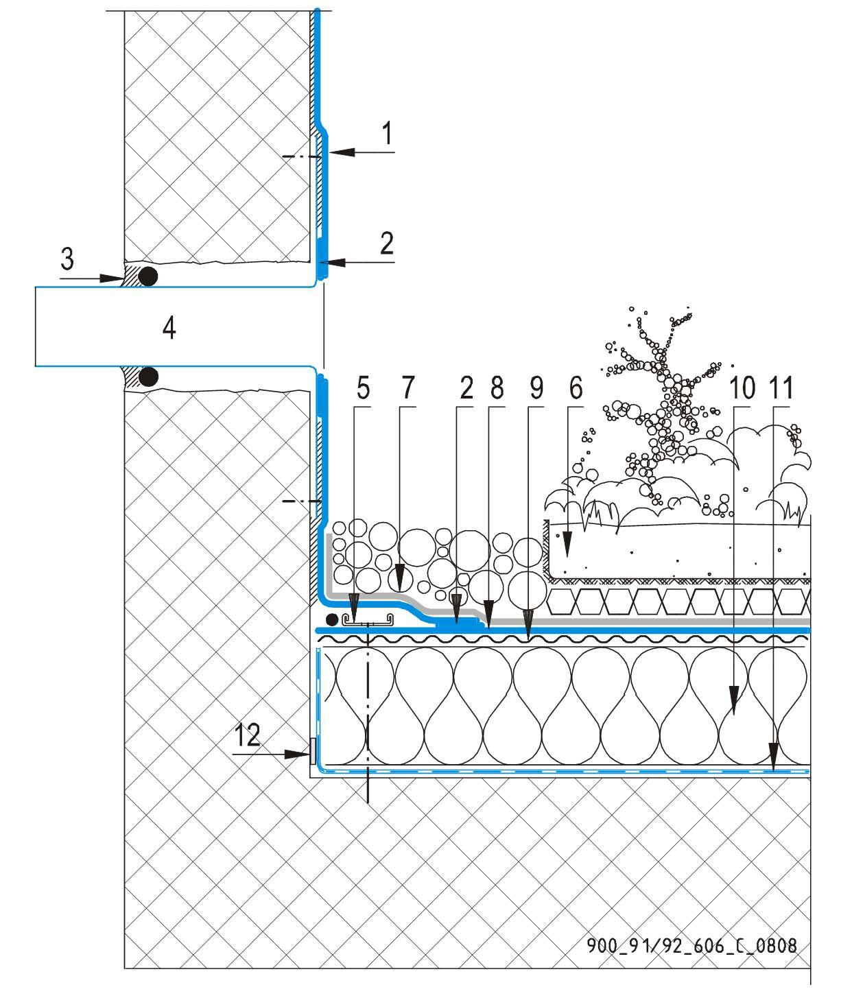 CAD Detalji - sustav zelenog krova - preljev