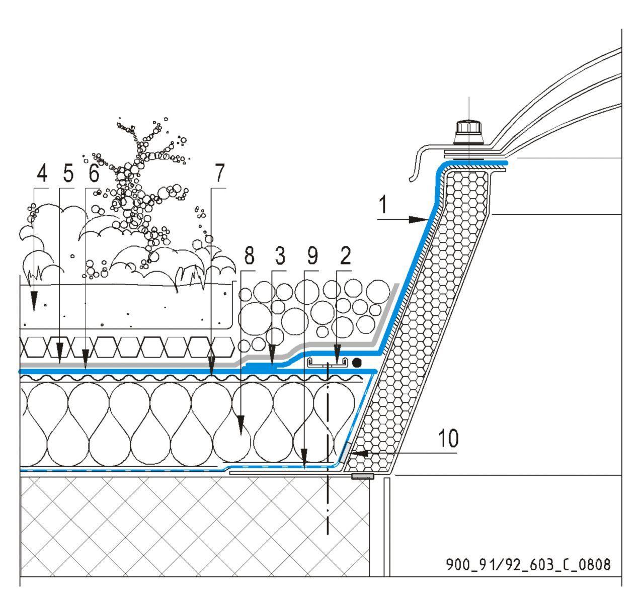 CAD Detalji - sustav zelenog krova - svjetlarnik