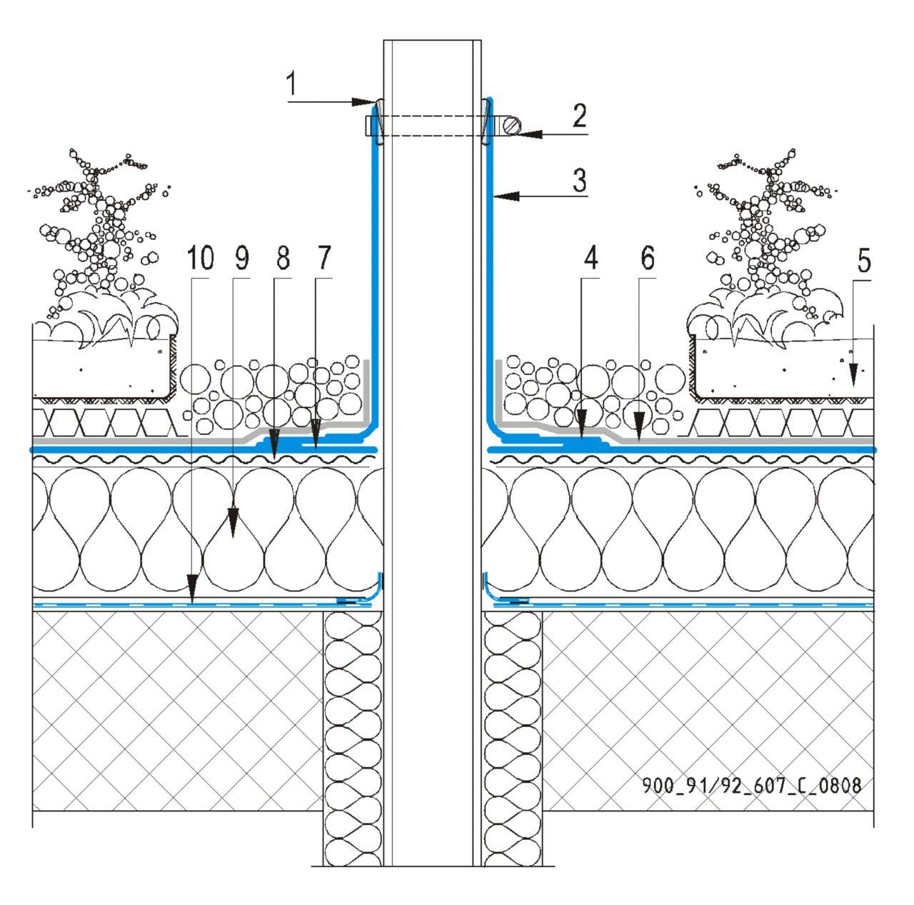 CAD Detalji - sustav zelenog krova - ventilacijska cijev