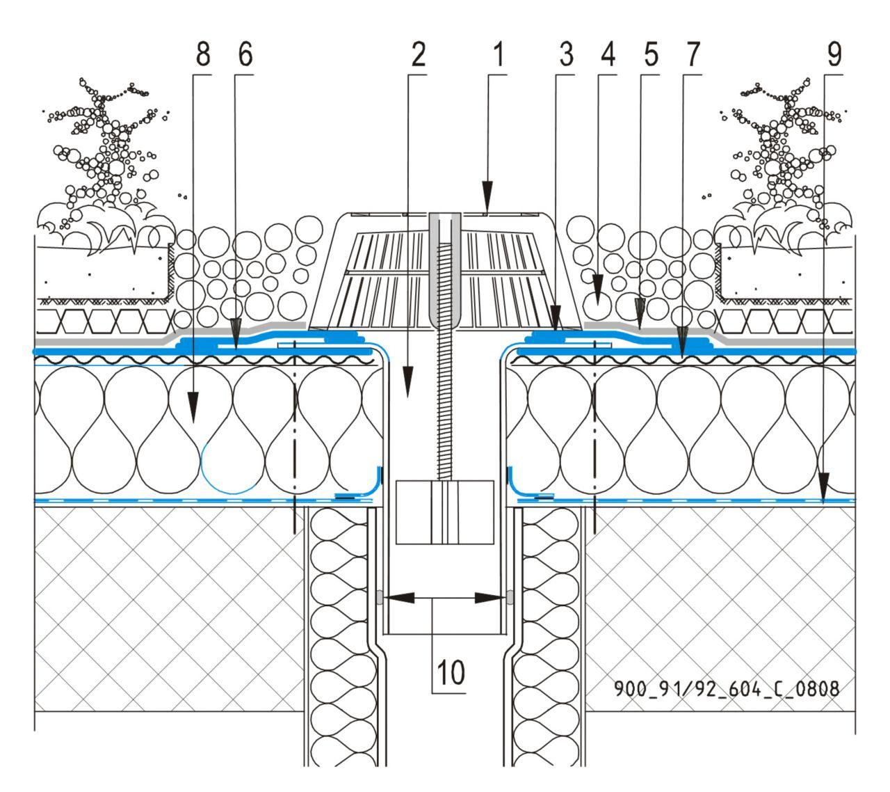 CAD Detalji - sustav zelenog krova - vertikalni slivnik