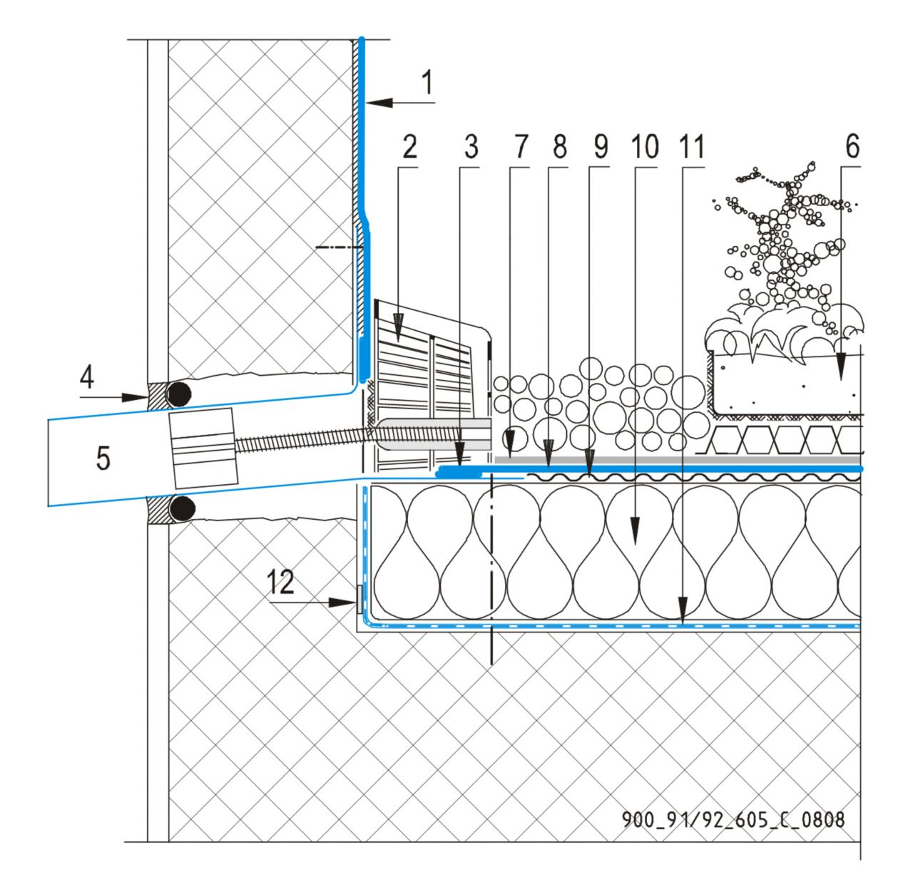 CAD Detalji - sustav zelenog krova - zidni slivnik
