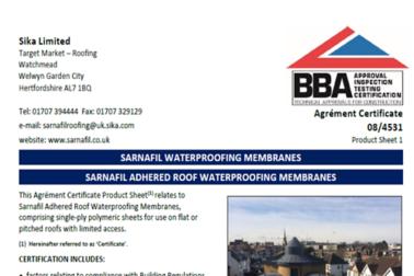 IE-Roofing-Sarnafil-BBA Certificate