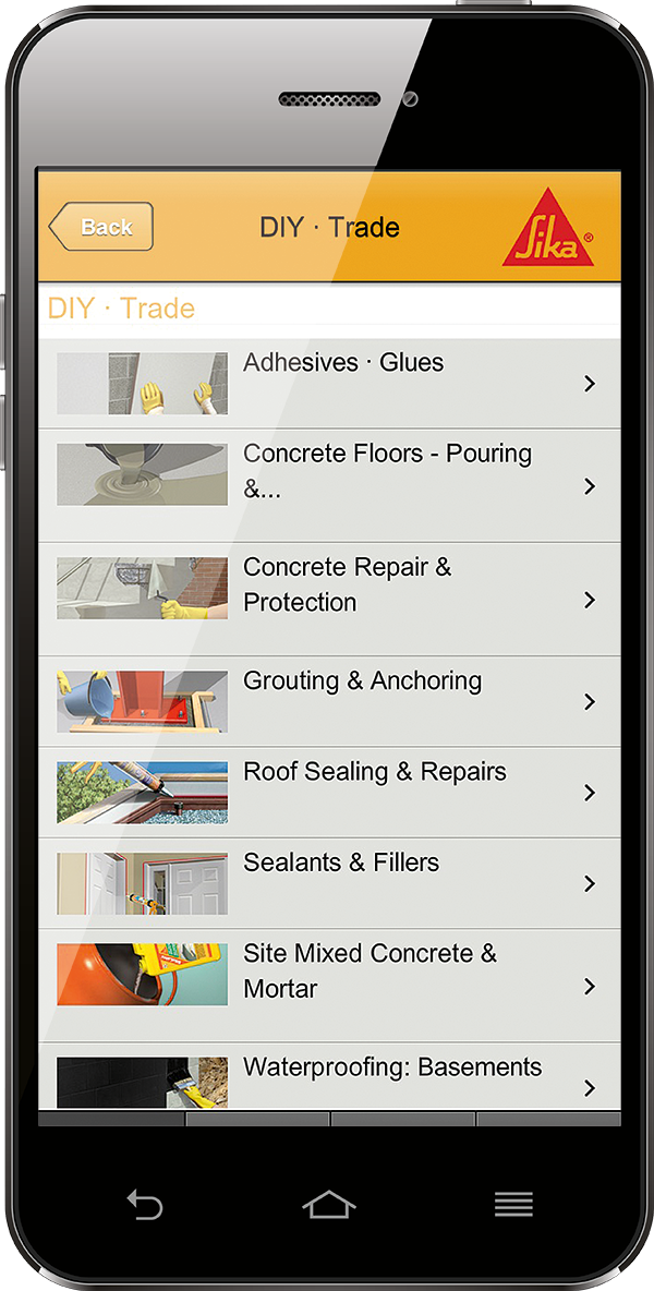 Showing Sika Product Finder App on phone