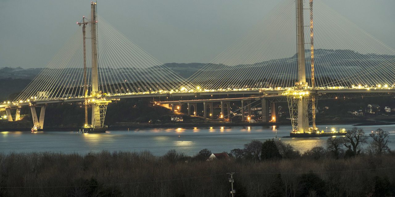 The Queensferry Crossing, which spans the Firth of Forth in eastern Scotland - Edingburgh