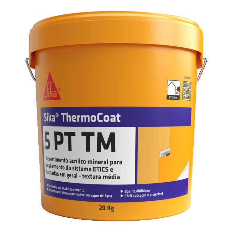 Sika® ThermoCoat-5 PT TM   Acabamento médio (Sistemas ETICS)   Impermeabilização e decoração de fachadas