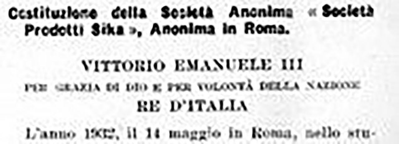 Primo documento che attesta l'attività di Sika in Italia