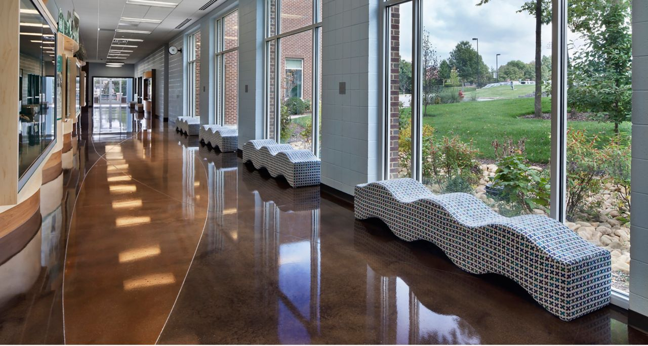 Harpeth Hall Athletics and Wellness Center - Acid Stained Concrete with LITHOCHROME® Chemstain® Classic