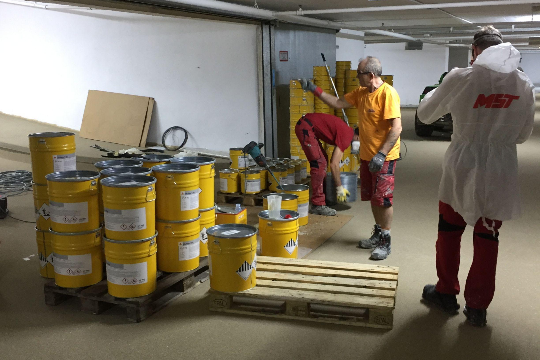 Einrichtung des Mischplatzes für die Sikafloor® Beschichtung