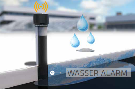 Sika SmartRoof Control - Wasser Alarm durch RC Sensoren im Kontrollrohr