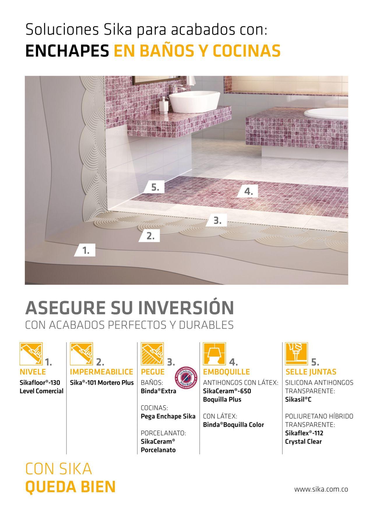 Soluciones Sika para acabados con enchapes en baños y cocinas