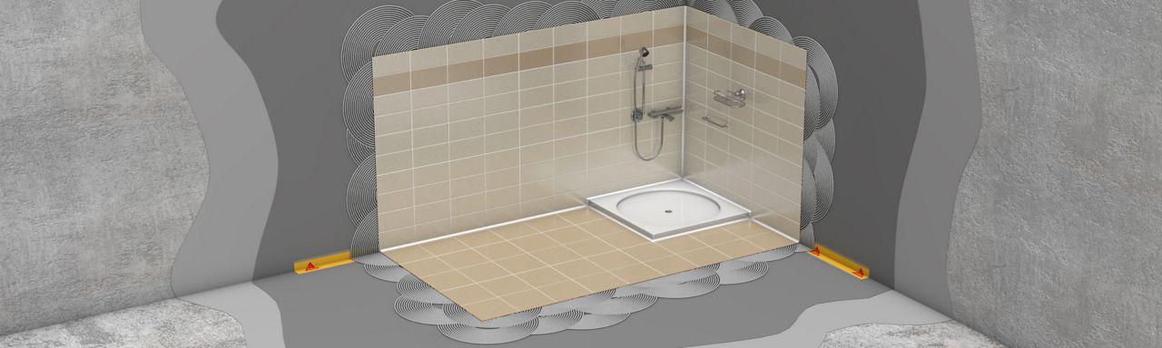 Koupelna se sprchovým koutem - hydroizolace