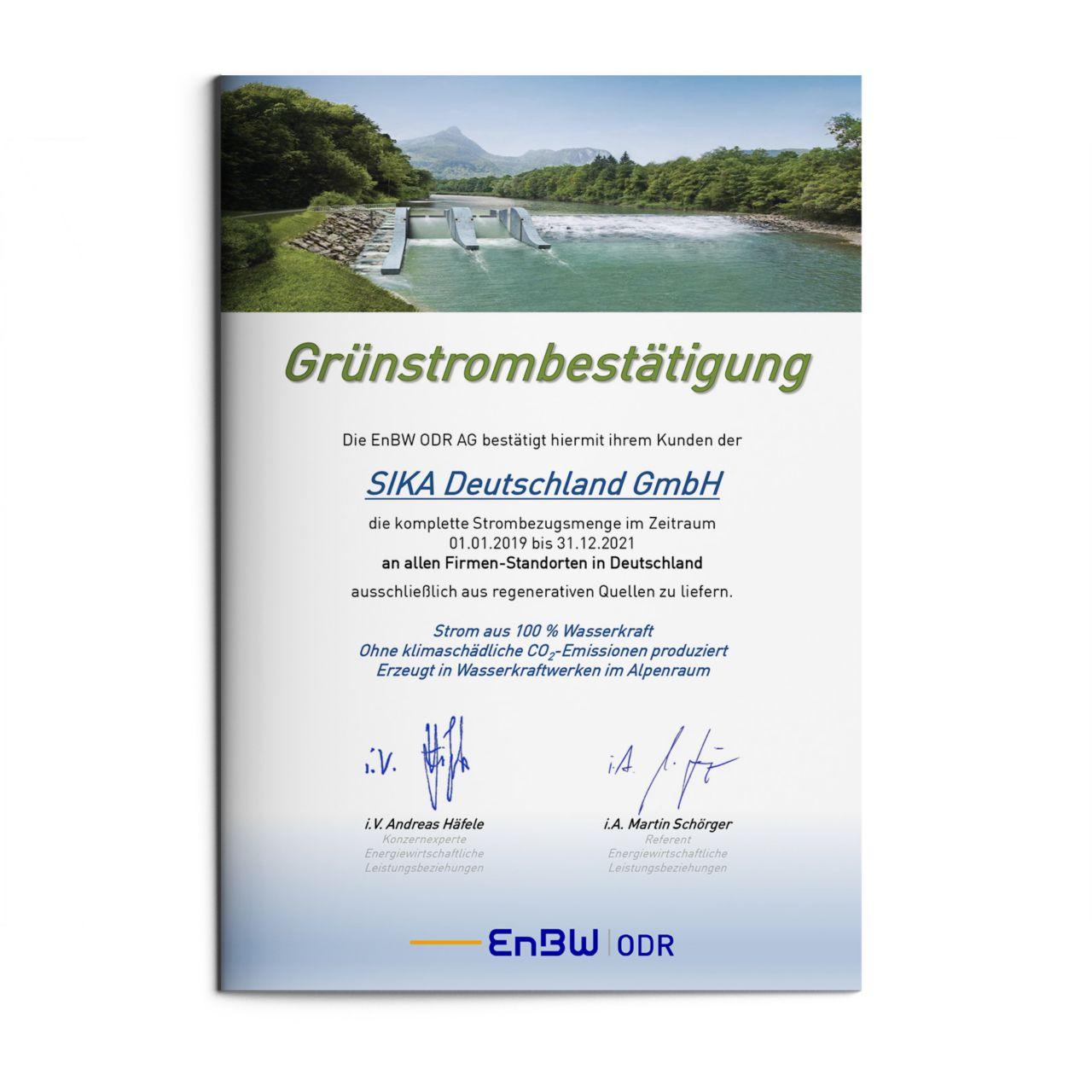 Bezug Grünstrom Sika Deutschland GmbH