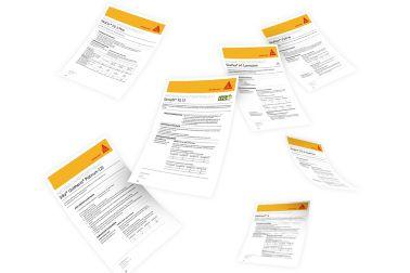 Mehrere Nachhaltigkeitsdatenblätter verschiedener Produkte