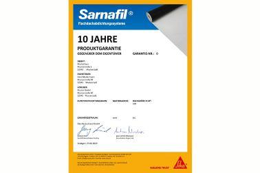 Produktgarantie 10 Jahre Eigentümer Sarnafil