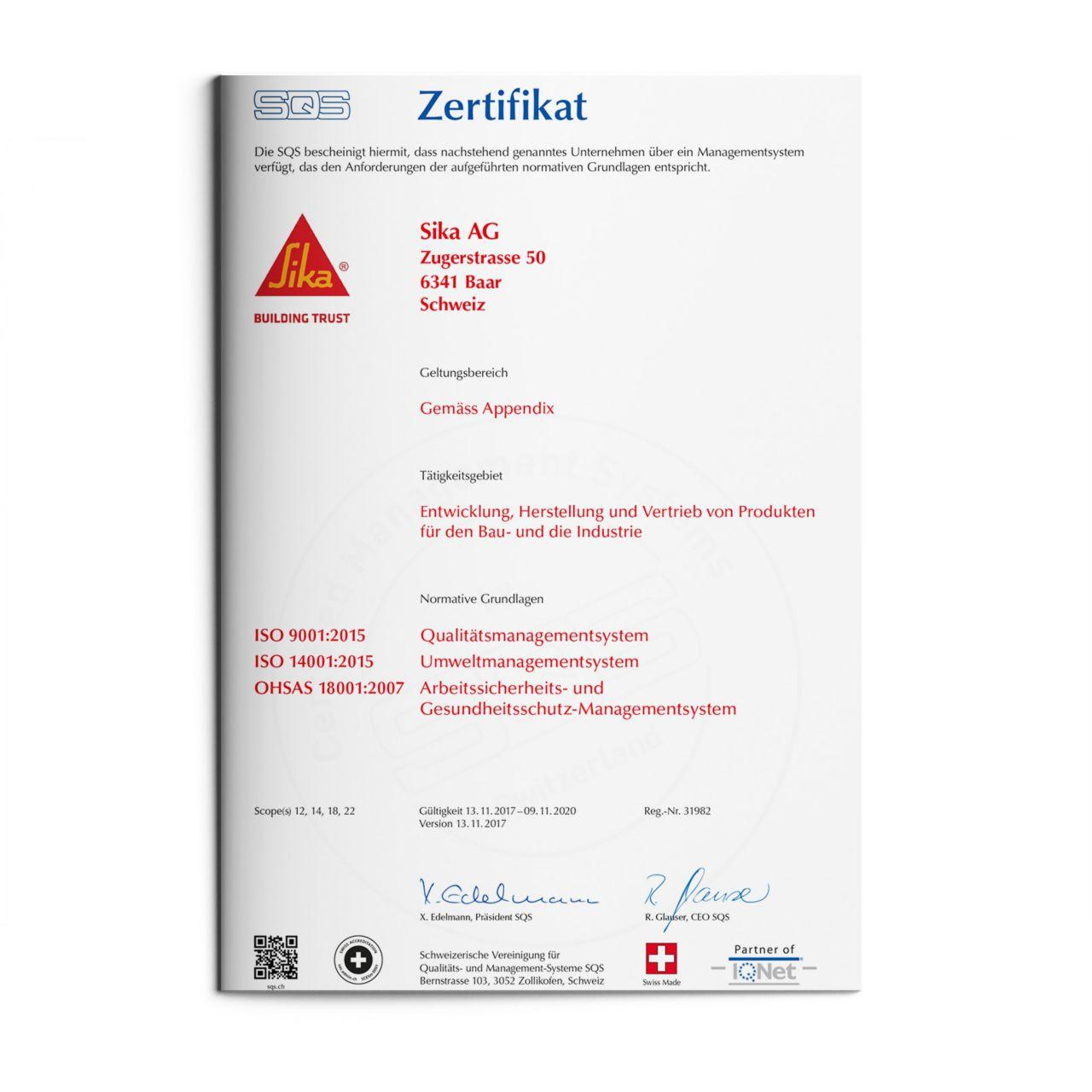 Zertifikat der zertifizierten Managementsysteme (Qualität, Umwelt, Energie)