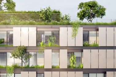The top of a sustainable green office or residential building