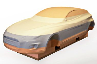Generic car model made out of Labelite®, a lightweight modeling board series