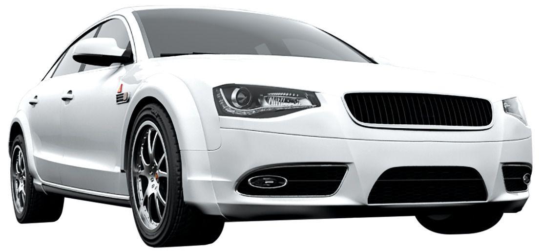 Rendered modern white car