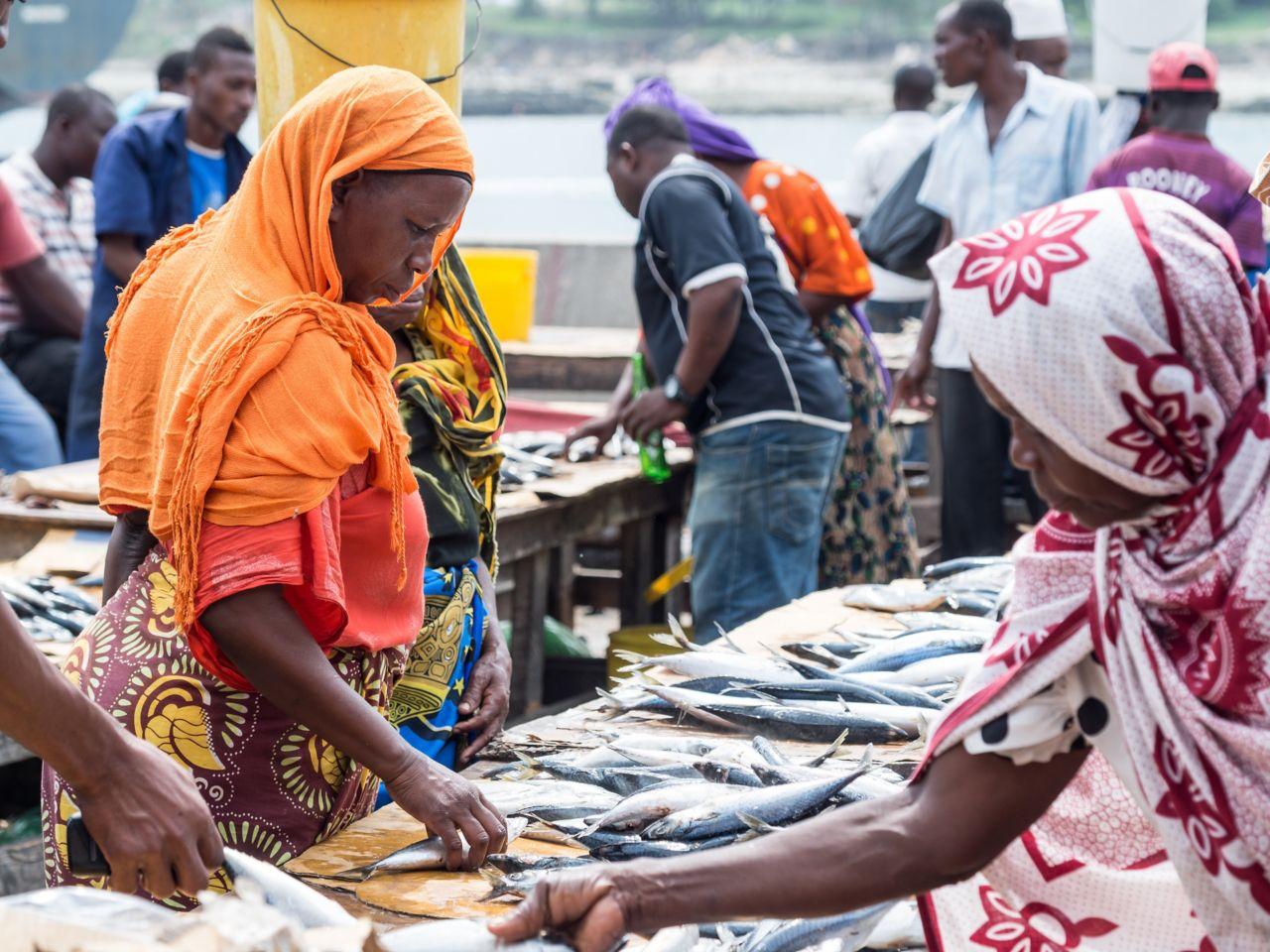Fish market at the capital Dar-el-Salaam