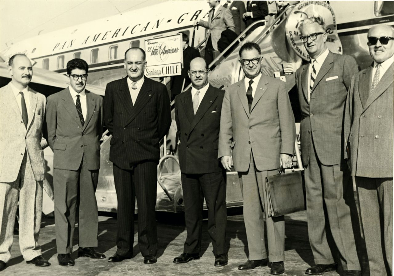 Fritz Schenker (third from right) on a visit in Santiago de Chile, October 1959