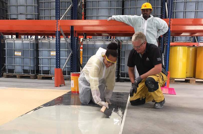 Sika concrete floor coating application training in Ethiopia