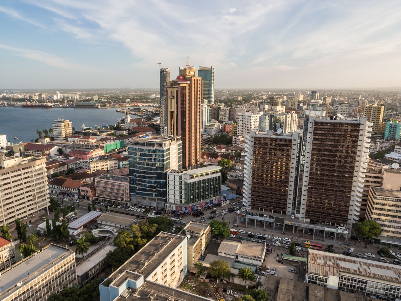 The skyline of Dar-el-Salaam in Tanzania