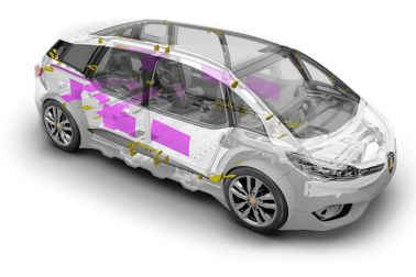 Acoustics system: sealing vehicle body cavities  and damping body panel vibration