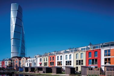 """Thanks to Sika ViscoCrete it was possible to pump concrete up to the topmost floors of the 180 metre high """"Turning Torso"""" in Malmö, Sweden, and to give the fair-faced concrete facade a surface smooth as glass"""