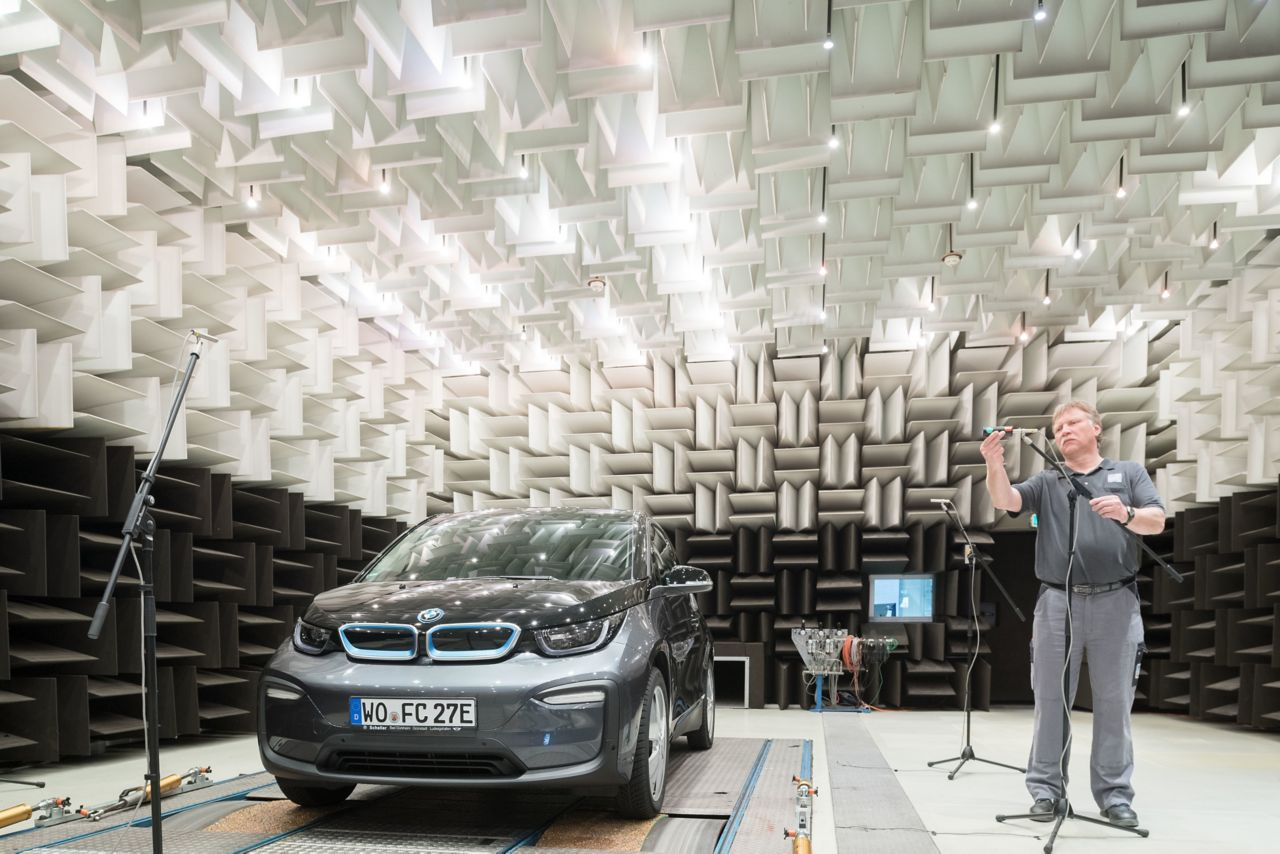 Sika acoustic test center in worms performing tests on a car