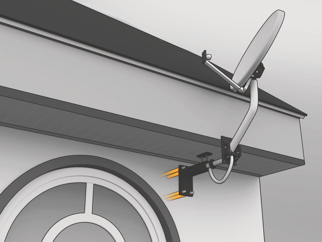 Parabolantenne forankret i betongvegg med Sika AnchorFix forankringslim