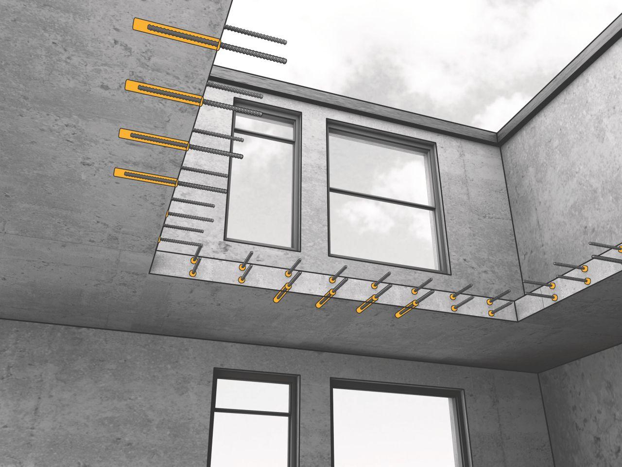 Bolter forankret i betong med Sika AnchorFix forankringslim