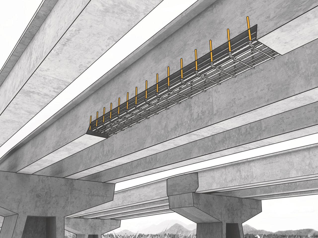 Bolter forankret i betongbrokonstruksjon med Sika AnchorFix forankringslim