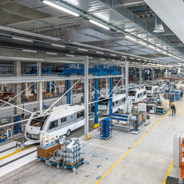 Caravan production line at Knaus Tabbert in Jandelsbrunn, Germany