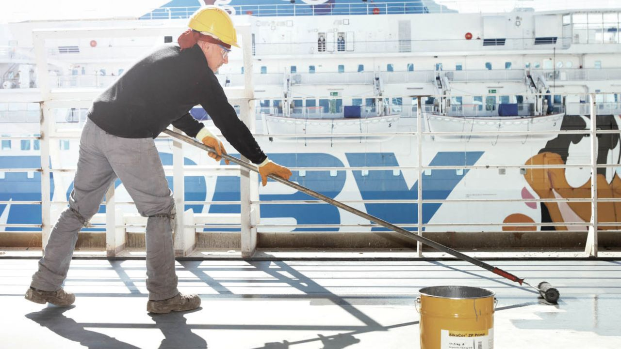 The application of the marine products on a ship deck.