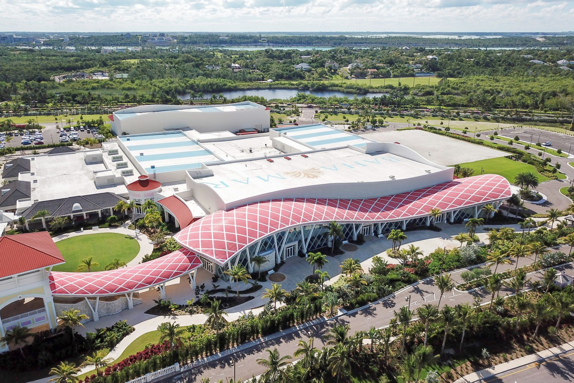 Single-ply roof PVC membrane of Sarnafil adhered roofing system installed on  Baha Mar Resort in the Bahamas