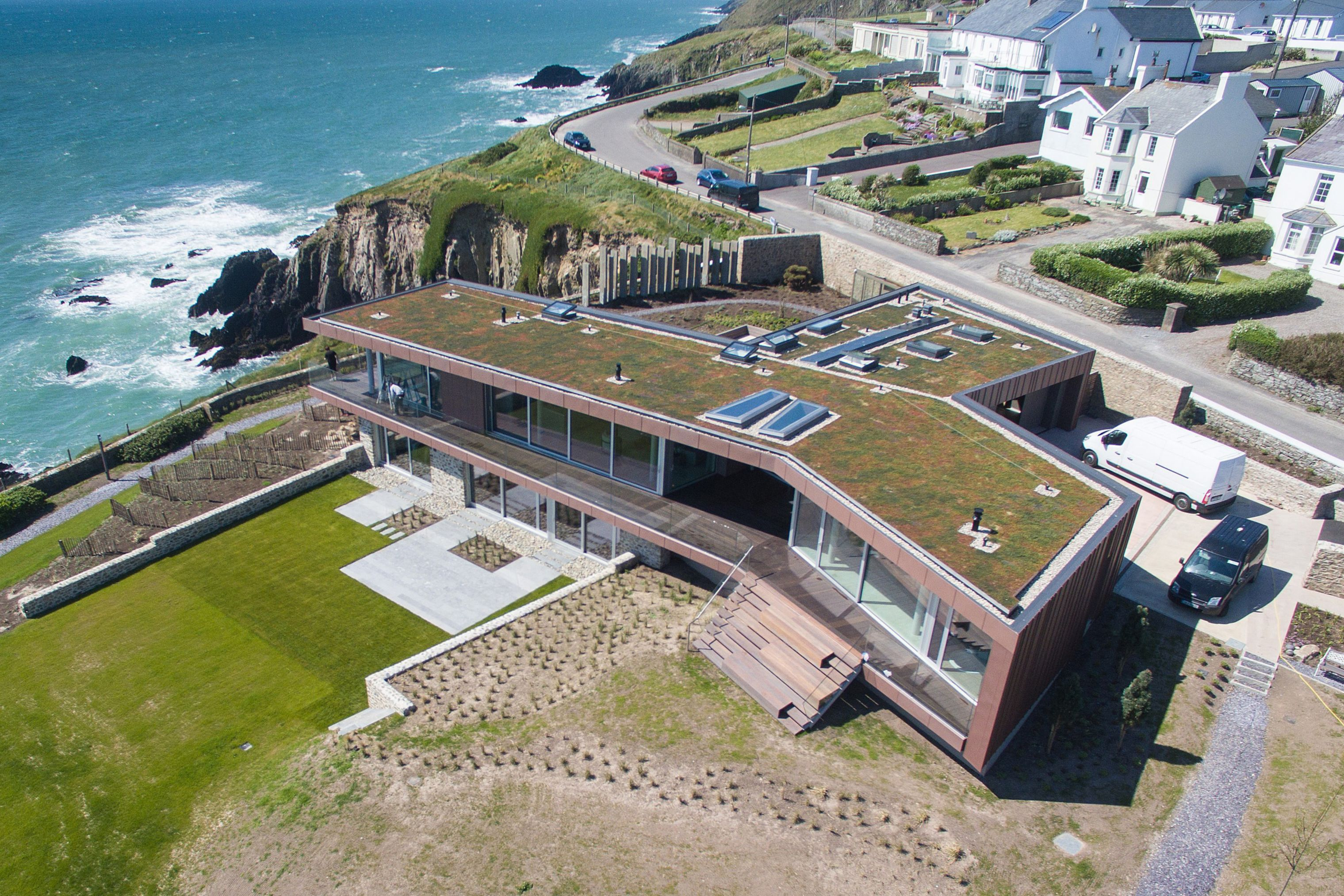 Green roof with Sika PVC membrane installed on Ballycotton House in Cork, Ireland
