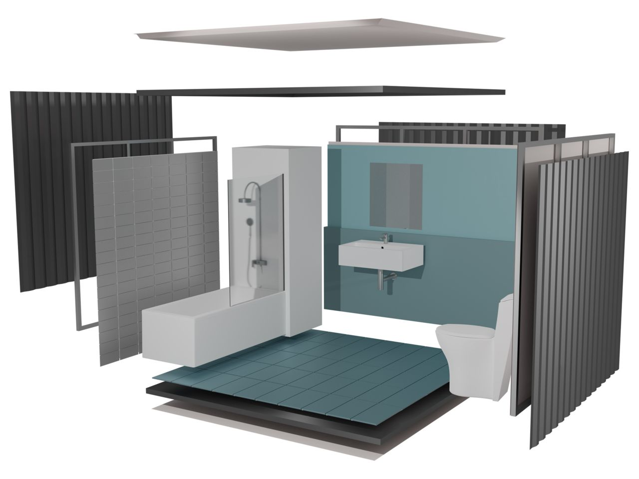 Illustration of bathroom pod