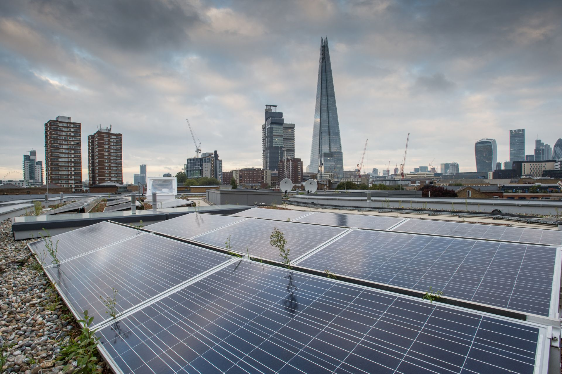 Solar roof with single-ply membrane installed on Bermondsey Village buildings in London in UK