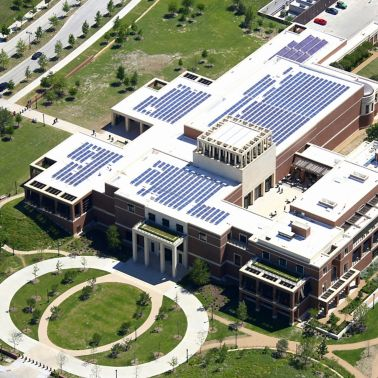 Solar roof with single-ply Sarnafil membrane installed on Bush Presidential Library in Dallas in USA