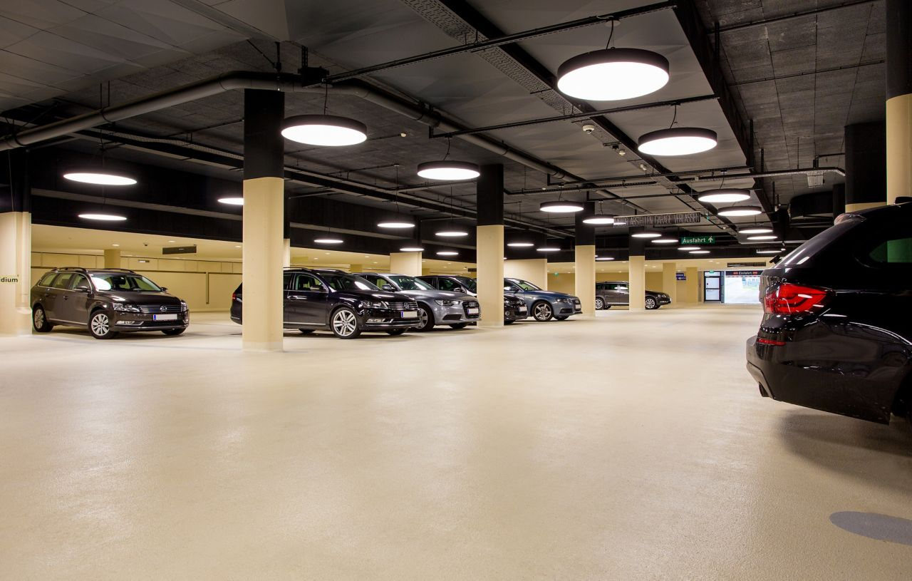 Indoor parking garage made with Sikafloor coating system