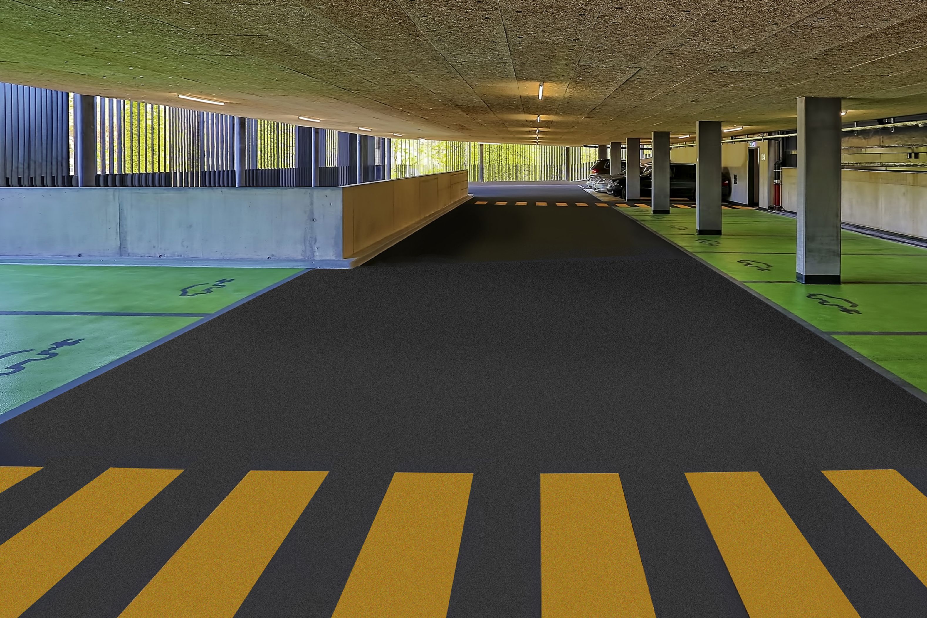 Colorful floor coating in car parking garage