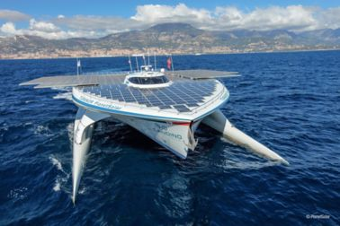catamaran with solar panels in the sea