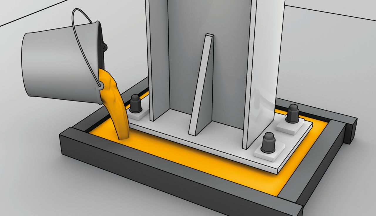Concrete repair grout application graphic