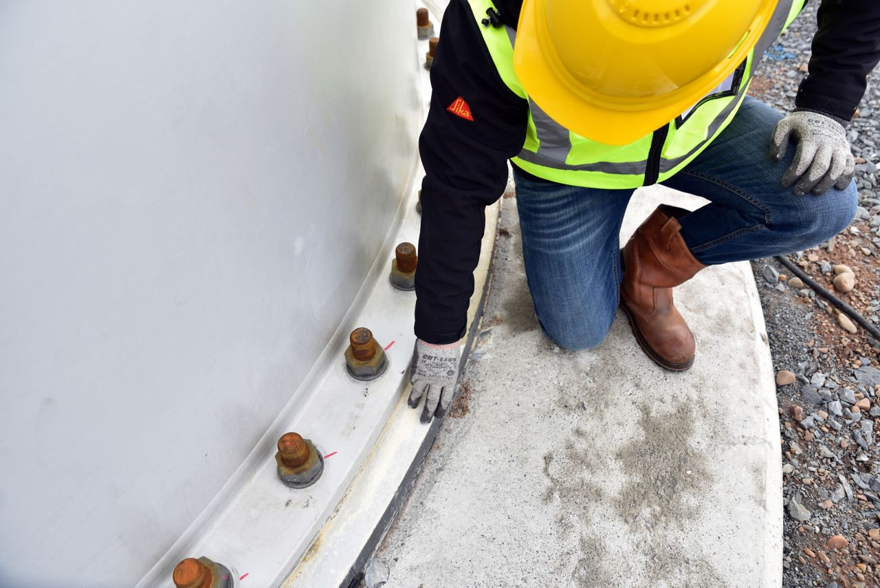 Man checking grouting quality