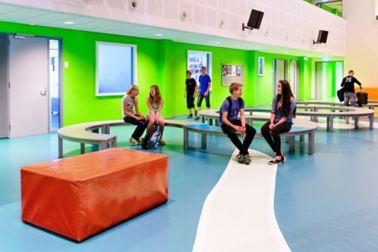 Sika ComfortFloor® blue floor at Revius Lyceum school lobby in Netherlands