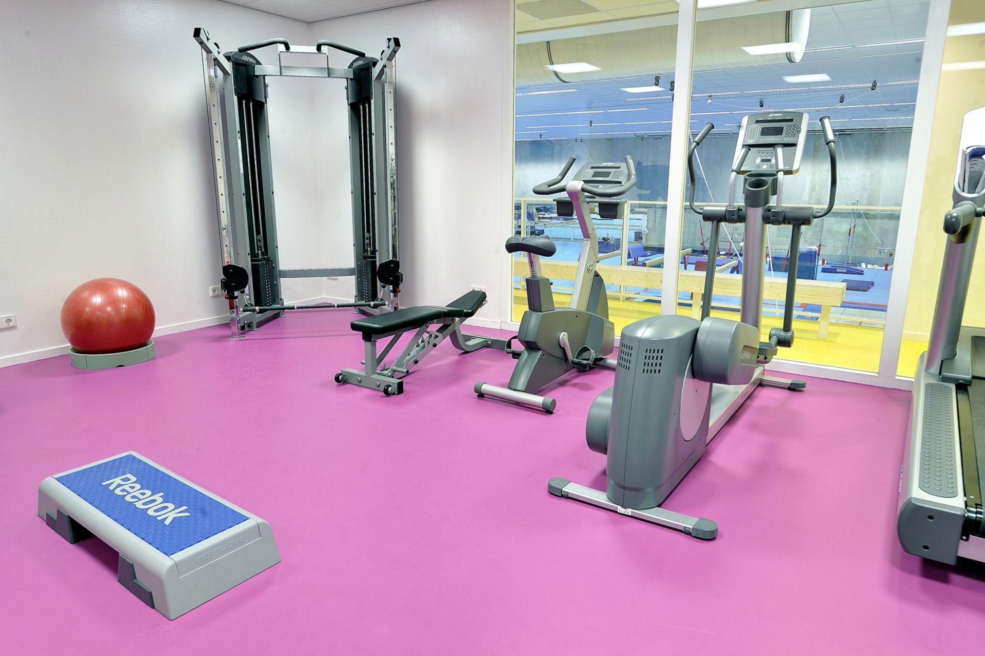 Sika ComfortFloor® pink floor in fitness room gym workout machines