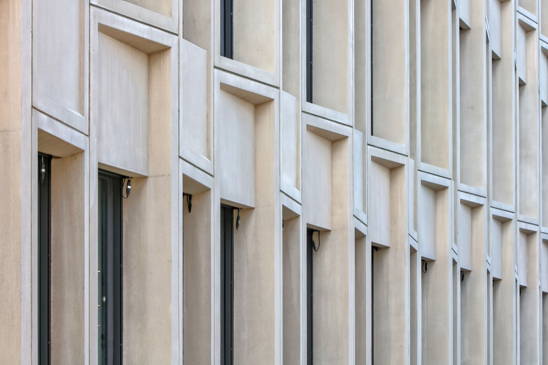 Precast colored concrete with a fine-blasted surface