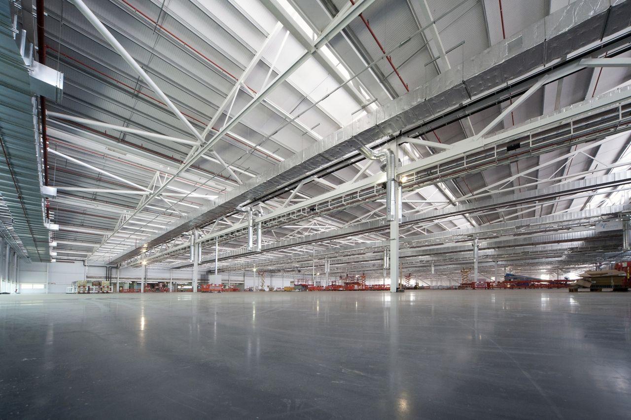 Concrete floor in warehouse