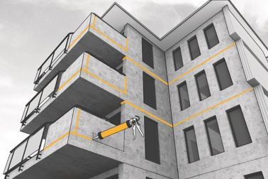 Application of joint sealant on a concrete building - Envelope System illustration