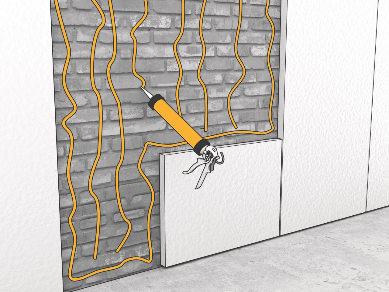 Bonding panels to brick wall with polyurethane adhesive